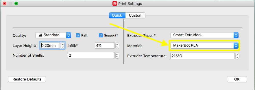 Under Material choose Makerbot PLA